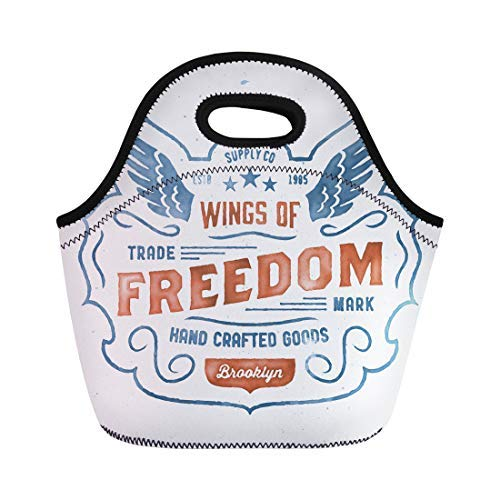 Vontuxe Insulated Lunch Tote Bag Watercolor Retro Graphic Vintage Hand Crafted Wings of Freedom Outdoor Picnic Food Handbag Lunch Box for Men Women Children