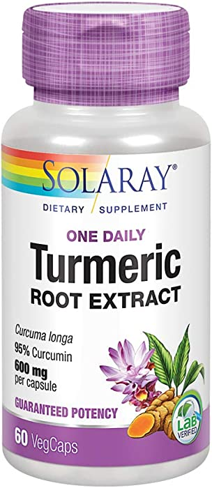 Solaray Turmeric One Daily 600 mg Veg Capsules, 60 Count