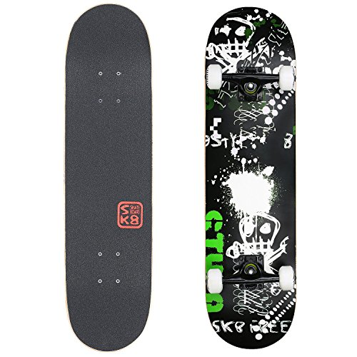 VOKUL Complete Skateboard for Kids Boys Girls Beginners – 31″ X 8″ inch Standard Skateboard with 7 Layer Maple Double Kick Concave Cruiser Skateboard with Beauty Pattern for Kids Youths Adults