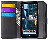 Google Pixel 2 XL Case, Ferlinso Elegant Genuine Real Leather with [SCREEN PROTECTOR]ID Credit Card Slot Holder Flip Cover Stand Magnetic Closure Case for Google Pixel 2 XL-Black