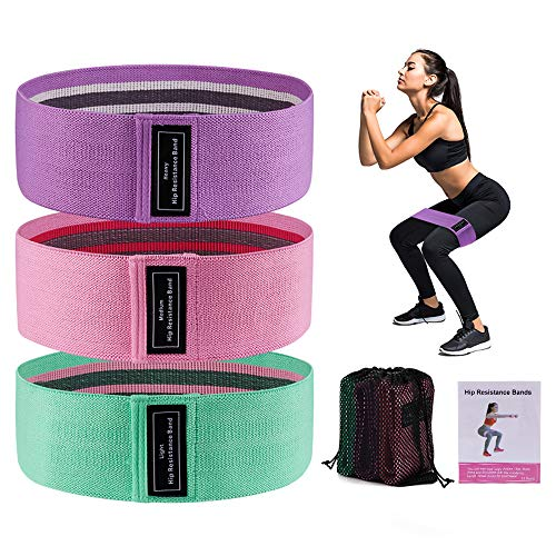 SUNVITO Resistance Bands for Legs and Butt, Workout Hip Bands with 3 Resistance Levels, Fabric Fitness Loop Bands for Body Stretching (3 Pack)