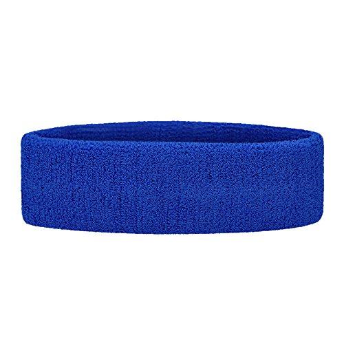 (GOGO Sports Headband Sweatband Athletic Terry Cloth Head Band Royal Blue )