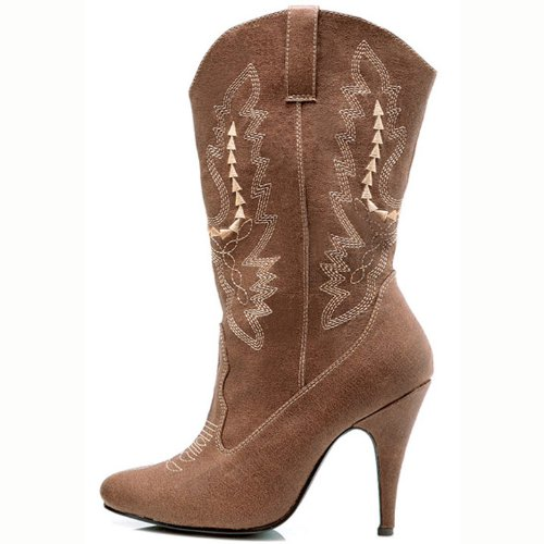 4 Inch Sexy Cowgirl Boots Cowboy Boots With High Heel Mid Calf Boot Black Brown Size: 10 Colors: Brown