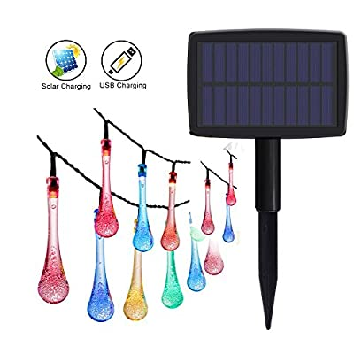 GEEKHOM String Lights Solar & USB Powered 2-in-1 Waterproof Decorative Fairy Light for Garden, Party, Home, Patio, Xmas Tree, Wedding