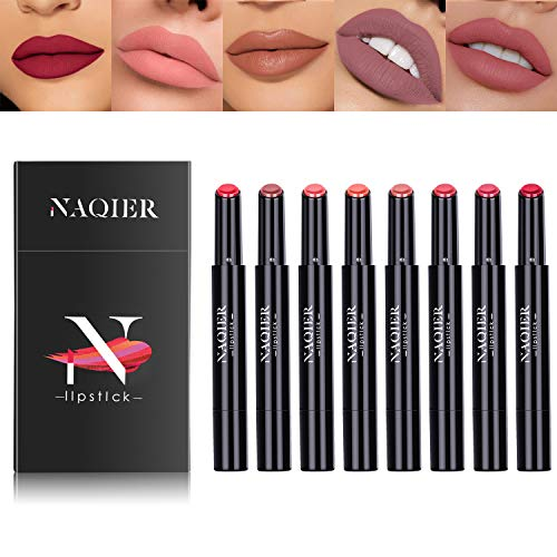 - NAQIER Matte Lipstick Set, 8PCS Nude Moisturizer Smooth Lip Stick, Waterproof liquid lipstick mate Make up Velvet lip gloss Cosmetic
