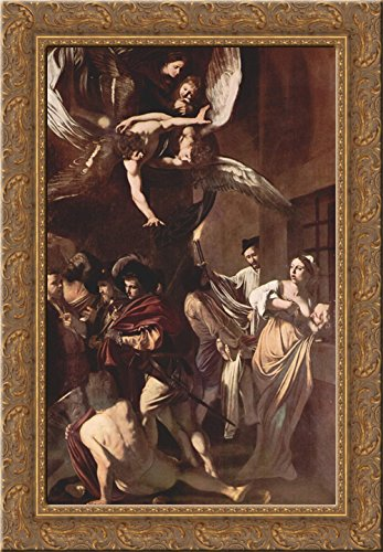 The Seven Works of Mercy 24x18 Gold Ornate Wood Framed Canvas Art by Caravaggio ()