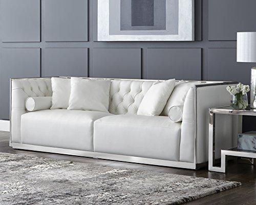Sunpan Modern Maxime Leather Sofa, White