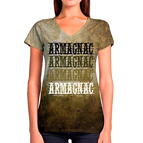 (Idakoos Armagnac Retro Vintage 3D - Women V-Neck T-Shirt Polyester Novelty L)
