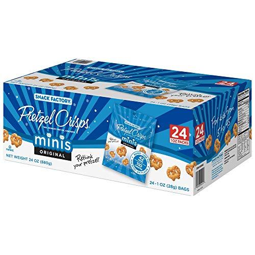 Snack Factory Pretzel Crisps, Original Minis, Single-Serve 1 Ounce, 24 Count