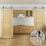Country Stainless Steel Sliding Barn Wood Double Door Hardware Track Set 12FT