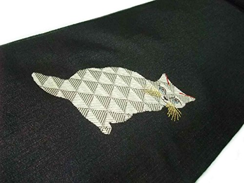 追加マットレス気球名古屋帯 正絹 西陣 ユーモラスな猫の柄 na334