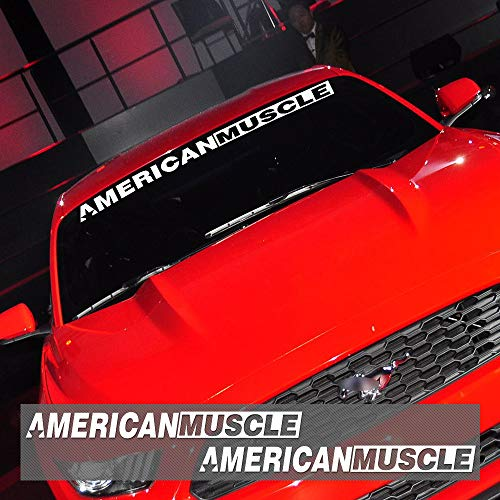 Charminghorse 2 Pieces AMERICANMUSCLE Bold Text GT Front & Rear Window Windshield Logo Banner Vinyl Decal Stickers for Ford Mustang Accessories (Reflective White)