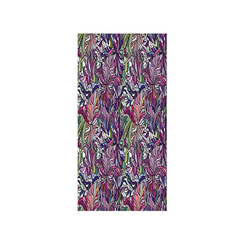 Decorative Privacy Window Film/Tropical Jungle Rainforest Artistic Abstraction Narcissus Iris Vintage Style Nature Decorative/No-Glue Self Static Cling for Home Bedroom Bathroom Kitchen Office Decor - Shutter Iris