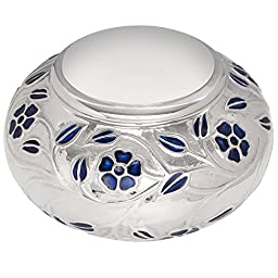 Funeral Cremation Urn for Human or Pet Ashes - Hand Made in Brass & Hand Engraved and Enameled with delicate floral design - Liliane Memorials Silver Vines model (Adult)