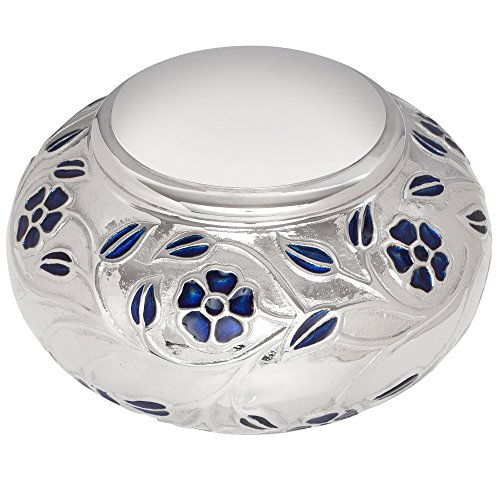 Silver Nickel Vines Funeral Urn by Liliane Memorials - Cremation Urn for Human Ashes - Hand Made in Brass - Suitable for Cemetery Burial or Niche - Large Size fits remains of Adults up to 110 lbs