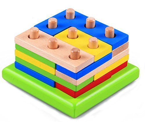 - WISDOMTOY 3D Wood Brain Teaser Colorful Geometric Blocks Stacker Assembly Shape Puzzle Toy for Kids