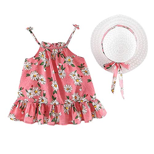 - TIFENNY Toddler Baby Dresses Kids Girls Strap Tulle Floral Dot Print Dress Princess Dresses Clothes Tops Red