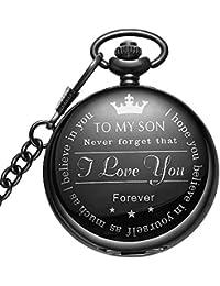 25f981b20 Black Pocket Watch Personalized Pattern Steampunk Retro Vintage Quartz  Roman Numerals Pocket Watch