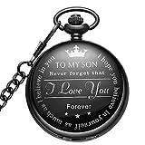 LYMFHCH Black Pocket Watch Personalized Pattern Steampunk Retro Vintage Quartz Roman Numerals Pocket Watch