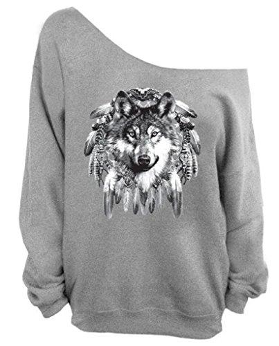 Dream Catcher Wolf Off the Shoulder Oversized Indian Native American Sweatshirt XL Gray
