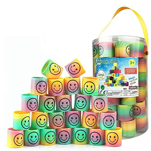 Liberty Imports Bucket of 72 Pcs Mini Emoji Rainbow Springs | Bulk Set of Assorted Rainbow Magic Coil Spring for Birthdays, Party Favors, Gifts