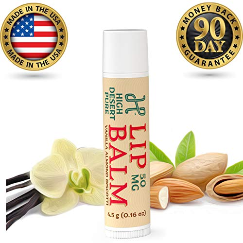 (High Desert Pure - 50mg Infused Lip Balm, 4.5g, Moisturizing + Pain Relief, Vanilla Almond Biscotti Flavored, Cruelty Free, 100% Made in U.S.A.)