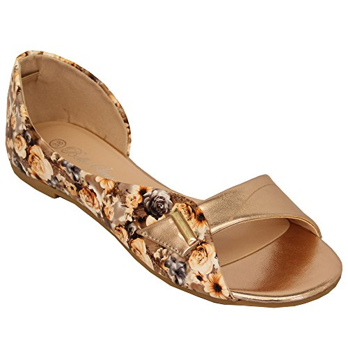 Ladies Flat Sandals Floral Print Womens Slip On Open Toe Bella Star Casual Shoes Champagne - B7608