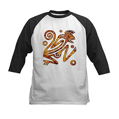 - Truly Teague Kids Baseball Jersey Chinese New Year Aztec Style Fire Monkey 2016 - Black/White, Large (14-16)
