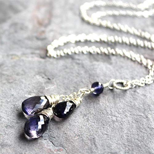 Iolite Necklace Sterling Silver Blue Teardrop Pendant Gemstone Faceted Cascade 18