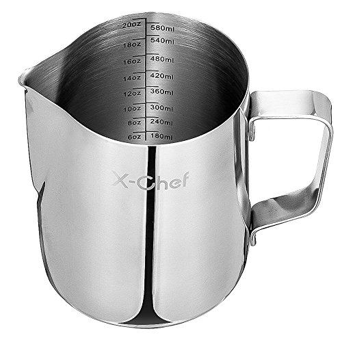 Milk Frothing Pitcher, X-Chef Stainless Steel Creamer Frothing Pitcher 20 oz (600 ml) by X-Chef (Image #7)