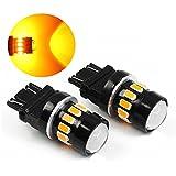 PESIC 2x 3157 3156 3057 16 SMD 5630 Reverse Backup Stop Amber Yellow LED Light Bulbs