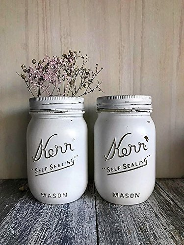 Set of 2 White Painted Mason Jars Rustic Decor Centerpieces Baby Shower Supplies - Hand Painted Jar