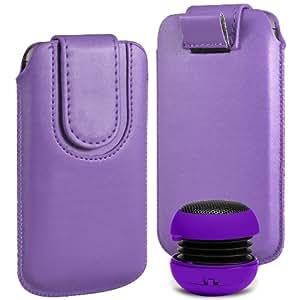 N4U Online Premium PU tirón del cuero del tirón del caso Tab cubierta de bolsa Con magnética Cierre de correa y mini altavoz portable para HTC uno Mini M4 - Púrpura