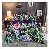 """Juego de cama KFZ (1 juego de funda de edredón + 2 fundas de almohada) con estampado de cactus en 3D, juego de ropa de cama con estampado de plantas de cactus, diseño fresco para niños, niñas, niños y adultos, para el hogar, Cactus Purple, Full,79""""x91"""""""