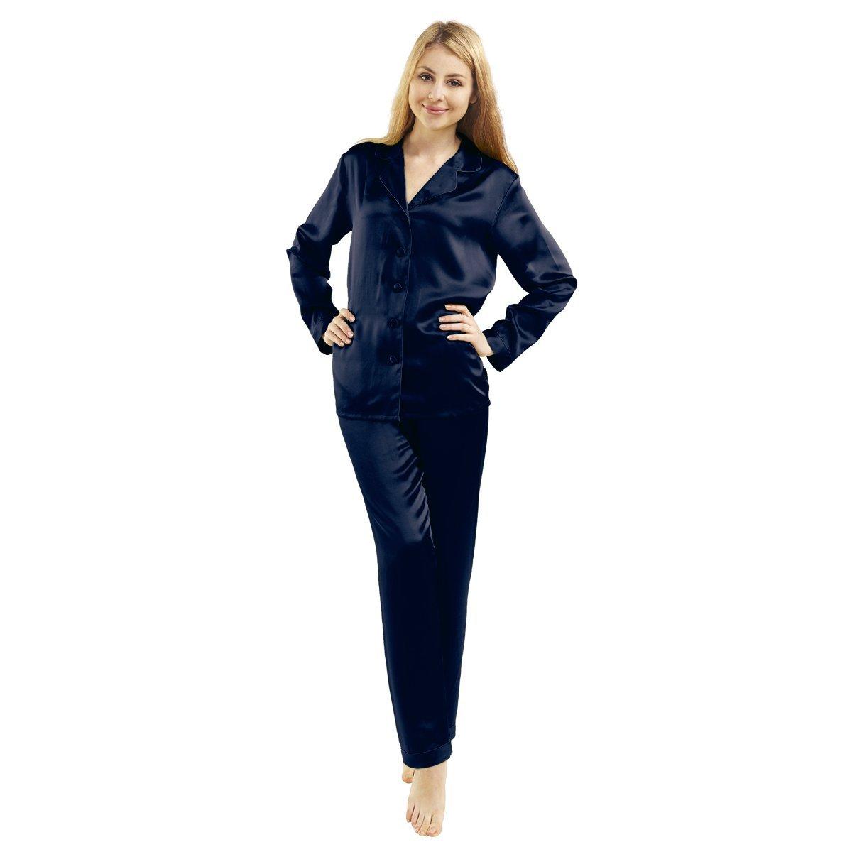 LUXUER Women's Handmade Pure Mulberry Silk Pajama Set Classic Luxury Large Navy Blue
