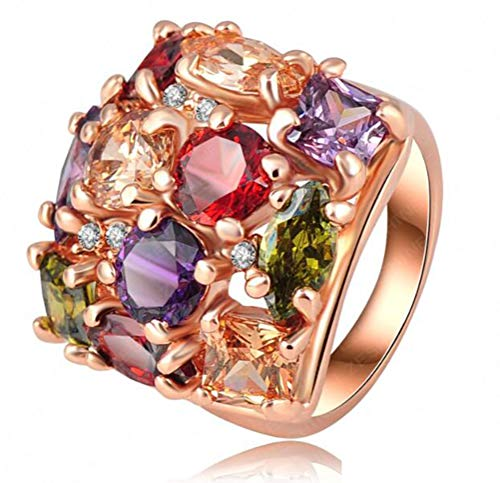 TEMEGO Multi Gemstone Ring,14k Rose Gold Wide Band Large Cocktail Statement Ring,Size 9