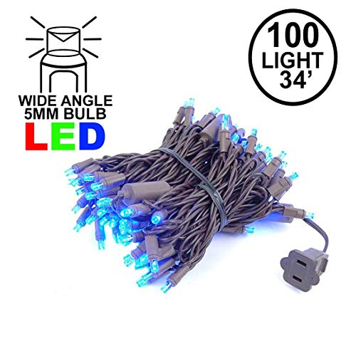 Novelty Lights 100 Light LED Christmas Mini Light Set, Outdoor Lighting Party Patio String Lights, Blue, Brown Wire, 34 Feet