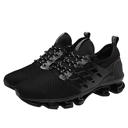 Bomkin Uomo Scarpe Da Corsa Leggere Slip On Mesh Casual Sneakers Traspiranti Sneakers Atletiche Nere