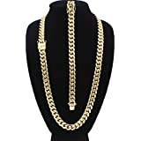Cuban Link Necklace Bracelet Set 18k Gold Plated Miami Cuban Stainless Steel Fashion Jewelry 14mm