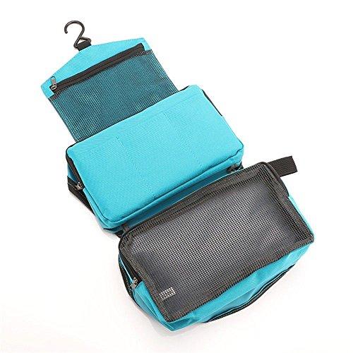 Los artículos de viaje del bolso cosmético pueden colgar la admisión portátil del viaje de los hombres y de las mujeres del bolso impermeable del bolso de la colada de la colada rosa azul Blue
