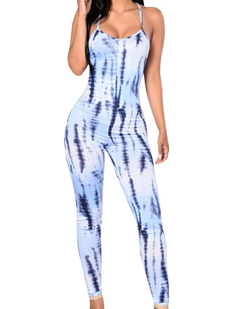 Lotu Wood Women's Sleeveless Tie Dye Floral Print Bodycon Long Tank Jumpsuit