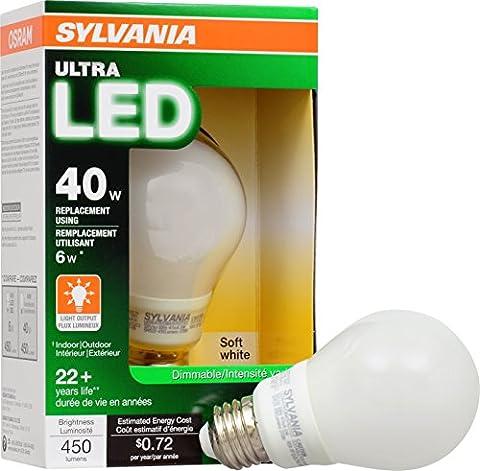 SYLVANIA ULTRA 40W LED Light Bulb Dimmable - Soft White 2700K, 25,000 hour life, E26 A19 Medium Base - Energy Star (Sylvania 2700k Led)
