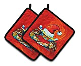A pair of pot holders to match your kitchen decor. Made in the USA these are thick and functional. Full Color artwork decorates the front polyester fabric of the hot pad and accented by a black trim. Use these at as a trivet for your Thanksgi...