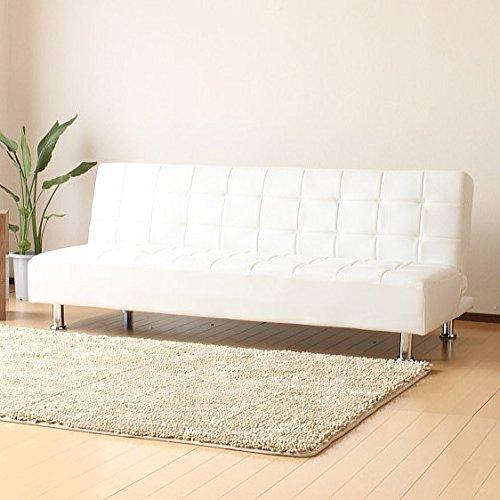 シンプルでおしゃれなレザー ソファーベッド ホワイト B01N4UMVX4
