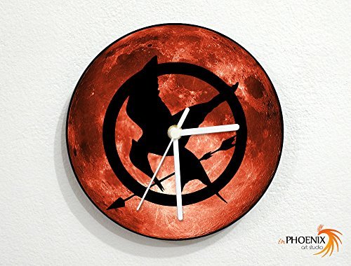Hunger Games - Red Full Moon - Universe Stars Space Galaxy Solar Planet - Custom Name Wall Clock