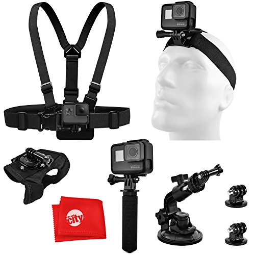 Accessory Bundle for GoPro HERO5 Black/Session 4K Action Camera w/Chest and Head Strap, Opteka HandGrip Handle, Wrist/Glove Mount, Car Window Suction Cup, Tripod Adapter, Microfiber Cleaning Cloth