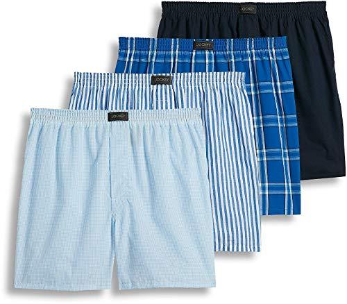 Jockey Men's Active Blend Woven Boxer 4-Pack, Best Navy Stripe/Blue Plaid, LG
