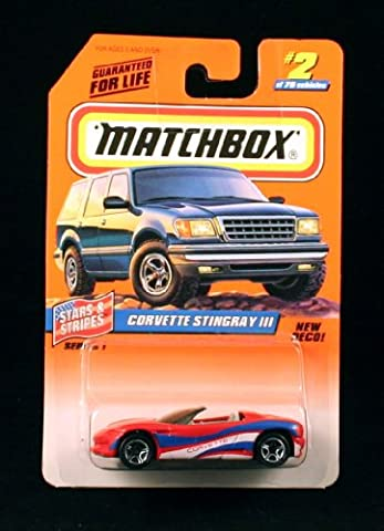 CORVETTE STINGRAY III * RED/WHITE/BLUE * Stars & Stripes Series 1 MATCHBOX 1998 Basic Die-Cast Vehicle (#2 of - Tyco Corvette