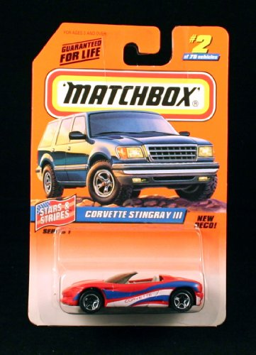 Dinky Toy Cars - CORVETTE STINGRAY III * RED/WHITE/BLUE * Stars & Stripes Series 1 MATCHBOX 1998 Basic Die-Cast Vehicle (#2 of 75)