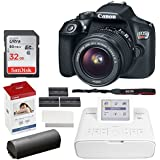 Canon EOS Rebel T6 Digital SLR Camera + EF-S 18-55mm Lens + 32GB Memory Card + Canon SELPHY CP1300 Compact Photo Printer (White) + Canon KP-108IN Color Ink and Paper Set + Replacement Printer Battery